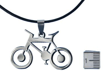 Bicycle Necklace Miniblings Leather Leisure Summer Sport Movement bike – Bild 2