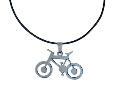 Bicycle Necklace Miniblings Leather Leisure Summer Sport Movement bike – Bild 1