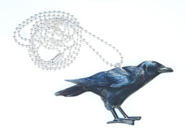Black Raven Necklace Miniblings 80cm Bird Crow Animal Wood birds Printed Wood Laser Cut – Bild 1