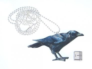 Black Raven Necklace Miniblings 80cm Bird Crow Animal Wood birds Printed Wood Laser Cut – Bild 3