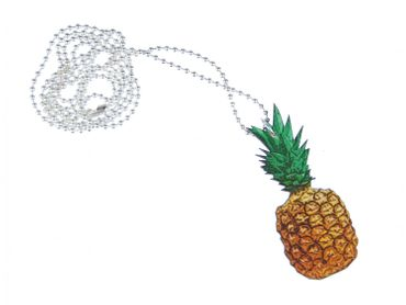 Pineapple Necklace Miniblings 80cm Eating Fruit Food fruits Printed Wood Laser Cut – Bild 1