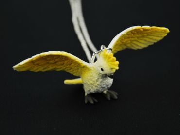 Cockatoo Necklace Miniblings 80cm Bird Parrot pet Animal amazonas wild – Bild 4