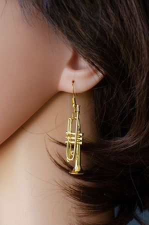Trumpet Earrings instrument Miniblings Brass Music Gold Plated big band Chapel + Box – Bild 3