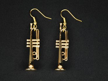Trumpet Earrings instrument Miniblings Brass Music Gold Plated big band Chapel + Box – Bild 4
