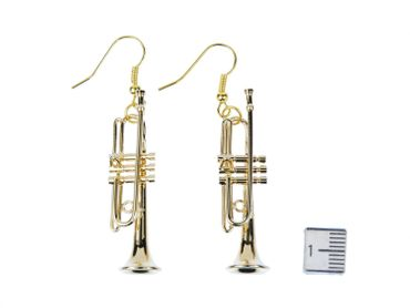 Trumpet Earrings instrument Miniblings Brass Music Gold Plated big band Chapel + Box – Bild 5