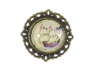 Schiff Brosche Miniblings Pin Anstecker Anstecknadel Cabochon Boot Segelschiff – Bild 1