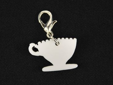 Coffee Cup Tea Pot Charm For Bracelet Wristlet Dangle Miniblings mug kitchen teatime Acrylic White – Bild 1