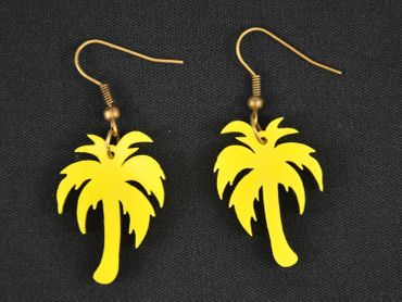 Palm Acrylic Lasered Earrings Miniblings Palm Tree Acrylic plant plants tree holidaysYellow – Bild 2