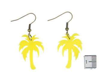 Palm Acrylic Lasered Earrings Miniblings Palm Tree Acrylic plant plants tree holidaysYellow – Bild 3