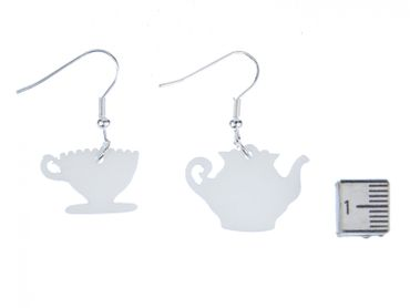 Coffeepot Cup Earrings Miniblings Coffee pot cup mug tea kitchen Service Teapot White – Bild 4