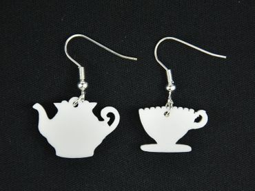 Coffeepot Cup Earrings Miniblings Coffee pot cup mug tea kitchen Service Teapot White – Bild 3