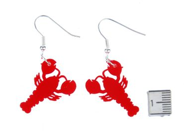 lobster Acrylic Lasered Earrings Miniblings cancer animal sea ocean Acrylic cooking cook Red – Bild 2
