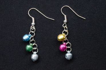 Bells bell Earrings Miniblings Mini miniatur Indian working Colorful Mix Of Colors – Bild 4
