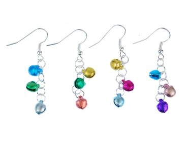 Bells bell Earrings Miniblings Mini miniatur Indian working Colorful Mix Of Colors – Bild 2
