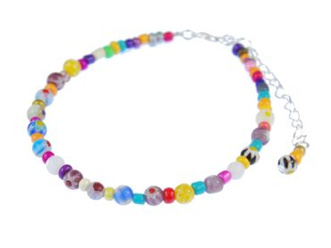 Pearl Anklet Miniblings Beach Summer Colorful Beads mixed coulours holiday sun – Bild 1
