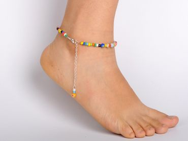 Pearl Anklet Miniblings Beach Summer Colorful Beads mixed coulours holiday sun – Bild 2