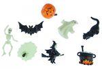 7x Halloween Aufstellfigur Miniblings Gummitier Hexen Kessel Geist Kürbis Mix