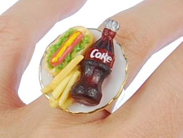 Fast Food Ring Miniblings Fingerring Limo Pommes Hot Dog Essen Limonade – Bild 3