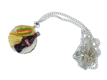 Fast Food Teller Halskette Kette Miniblings Essen Pommes Limo Hot Dog – Bild 2