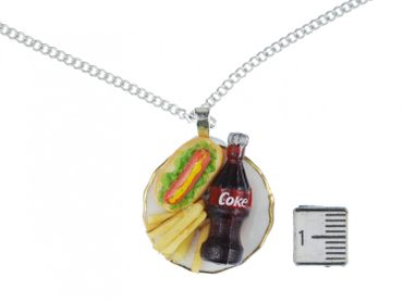 Fast Food Teller Halskette Kette Miniblings Essen Pommes Limo Hot Dog – Bild 3