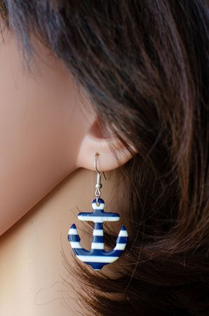 Anchor White Blue Earrings Miniblings Sea Ocean Water Marine Anchor Boat S – Bild 5