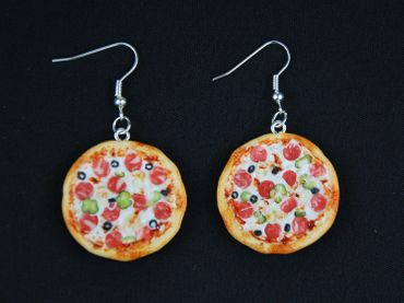 Pizza Earrings Miniblings Pizza Around Quite Detailed 3D Polymer Clay Colorful – Bild 2