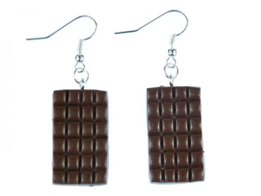 Chocolate Earrings Miniblings Milk Chocolate Bar Brown 3D Panel Brown – Bild 1