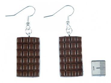 Schokolade Ohrringe Ohrhänger Miniblings Vollmilch Tafel Schokoladentafel 3D braun – Bild 2