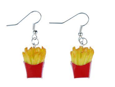 Pommes Ohrringe Ohrhänger Miniblings Pommes Frites in Tüte 3D Details gelb rot – Bild 1