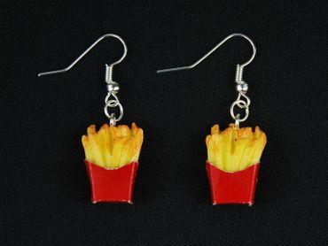 Pommes Ohrringe Ohrhänger Miniblings Pommes Frites in Tüte 3D Details gelb rot – Bild 3