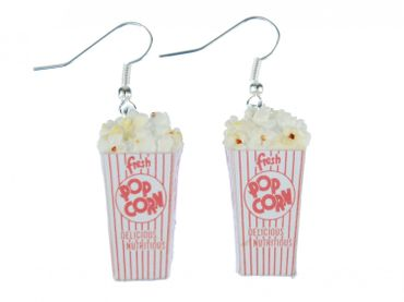 Popcorn Earrings Miniblings Corn Popcorn 3D Cinema White Red – Bild 2