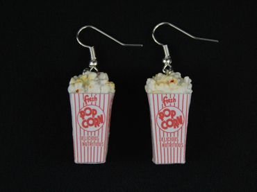 Popcorn Earrings Miniblings Corn Popcorn 3D Cinema White Red – Bild 1