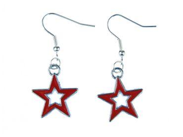 Stern Ohrringe Hänger Miniblings Sterne Weihnachten Star Loch Emaille rot silber – Bild 1