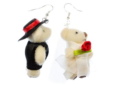 Bear Couple Earrings Miniblings Bear Wedding Bride And Groom Teddies Marriage – Bild 1