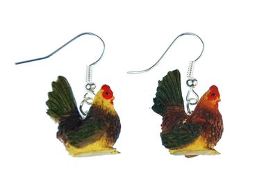 Chicken Earrings Chicken Miniblings Hen Egg Farm Rooster Earrings Colorful – Bild 1