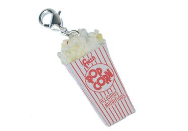 Popcorn Charm Zipper Pull Pendant For Bracelet  Wristlet Miniblings Popcorn Bag White Red – Bild 1