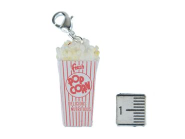 Popcorn Charm Zipper Pull Pendant For Bracelet  Wristlet Miniblings Popcorn Bag White Red – Bild 2