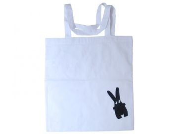 Cotton Carrier Bag Jute Bag Shopper Miniblings Bunny Black Diagonally Easter – Bild 1