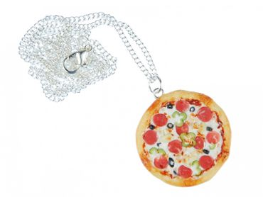 Pizza Necklace Miniblings Pizza Round Complete Detailed 3D Polymer Clay 60cm Colorful – Bild 1