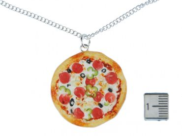 Pizza Necklace Miniblings Pizza Round Complete Detailed 3D Polymer Clay 60cm Colorful – Bild 3