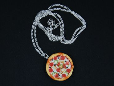 Pizza Necklace Miniblings Pizza Round Complete Detailed 3D Polymer Clay 60cm Colorful – Bild 4