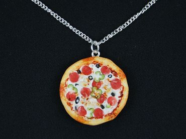 Pizza Necklace Miniblings Pizza Round Complete Detailed 3D Polymer Clay 60cm Colorful – Bild 5