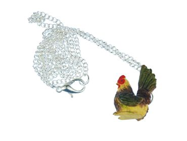 Chicken Necklace Miniblings Hen Farm Animal Bird Gockel Colorful 60cm – Bild 1