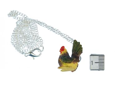 Chicken Necklace Miniblings Hen Farm Animal Bird Gockel Colorful 60cm – Bild 2