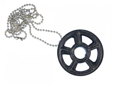 Ribbon Typewriter Necklace Miniblings 80cm Upcycling Vintage Belt Wheel – Bild 1