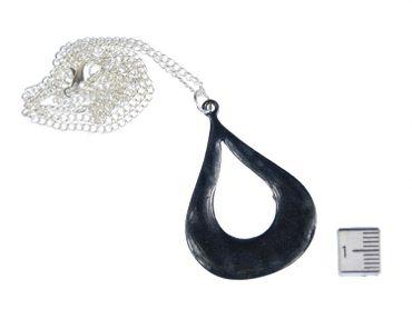 Tropfen Emaille Halskette Miniblings Kette 45cm Emaille schwarz grau Form Indien – Bild 2