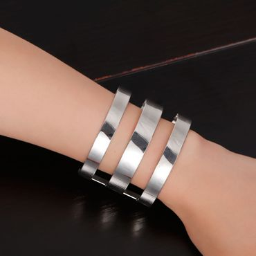 Bangle Bracelet Wristlet Dangle Miniblings Big Wide 3 Rows Metal Silver – Bild 1