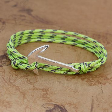 Anchor Bracelet Wristlet Dangle Miniblings Pendant Rope Climbers Rope Patterned Neon Green – Bild 2