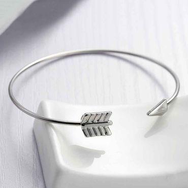 Pfeil Armreifen Armband Miniblings Armreif Indianer Pfeilspitze Silber Metall – Bild 3
