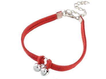Bell Anklets Anklet Miniblings Festival Necklace Leather Cord Red Silver – Bild 4